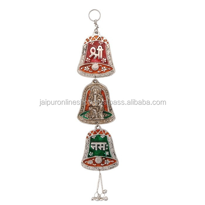 White Metal Bell Shape Shree Ganesha Door Hanging or Wall Hangings
