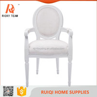 Classic white wooden fabric dining chair/classical chair for bedroom