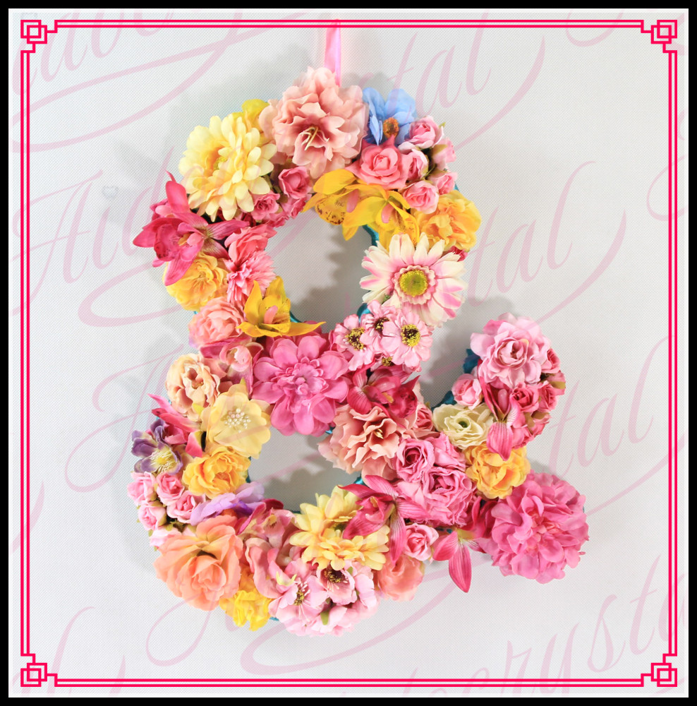 Aidocrystal 2017 New Item Wedding Decorating Artificial Realistic Monogram Flowers Letter