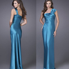 HE0218 one wide shoulder tight ass and bodice floor length ruffled back and straps free shipping big bust blue evening dresses