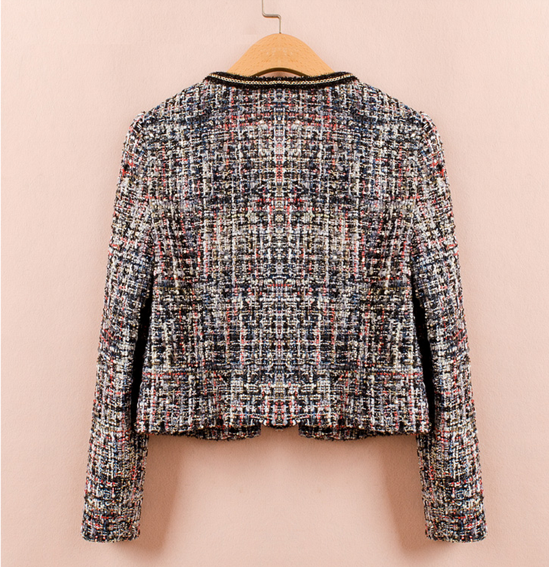 2016 New arrival women long sleeve tweed jacket with metal chain trim details, tweed jacket with fringe at pocket for women