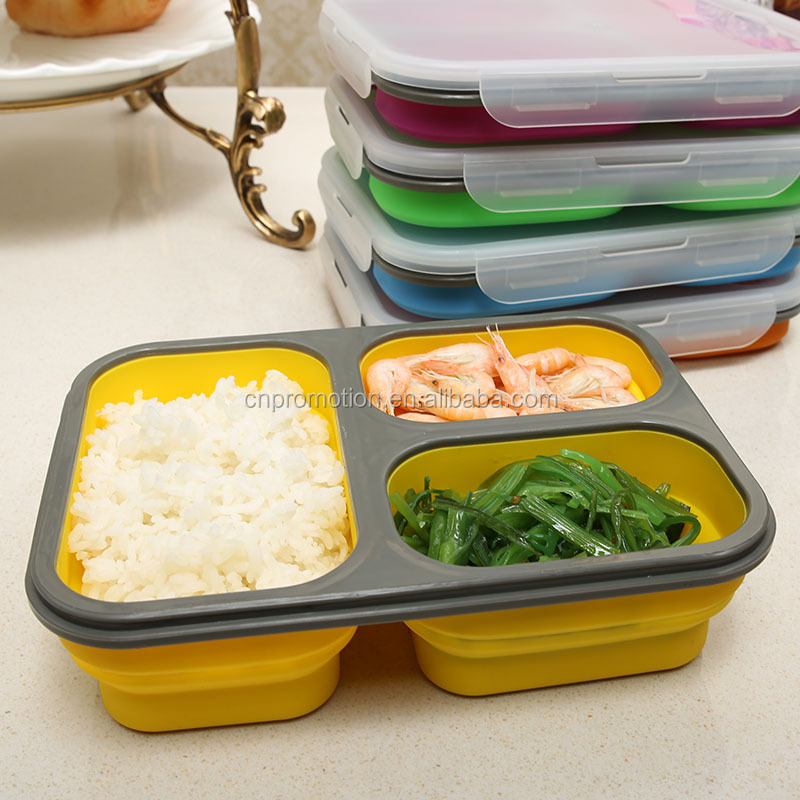 High quality Food Grade silicone 3 Compartment Collapsible school lunch box with fork