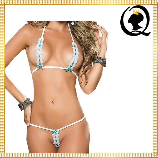 Hot Images Women Sexy Simple Bra Underwear Halter Strap Cupless Bra and Crotchless Panty