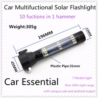 White Box-2016 New!Ten functions in One Flashlight,Solar LED Torch With Hammer Campus USB Android OutputCar Essential Emmergency