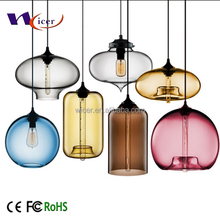 China manufacturer niche handmade colored glass carafe modern pendant light lamp
