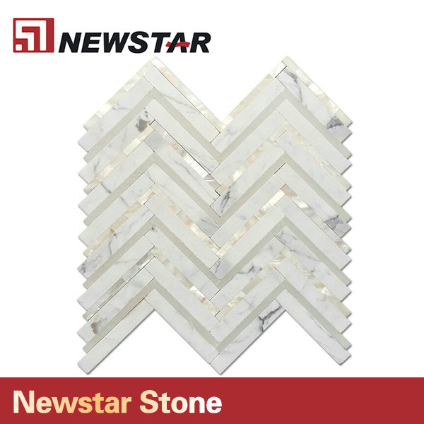 Newstar Calacatta White Marble Mixed Mother Of Pearl Shell Mosaic Chervon Tile