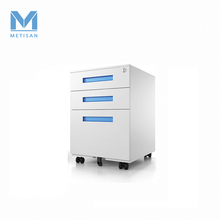 Mobile Drawer File Cabinet 3 Drawer Office Filing Pedestal With Recessed Blue Handle Metal Mobile Cabinet