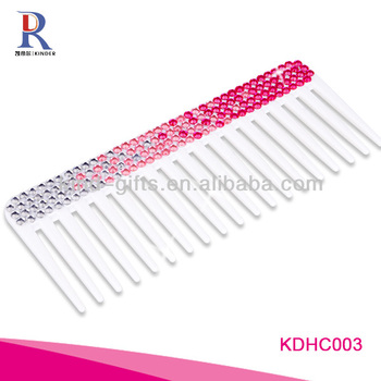 Big discount Christmas gift bling bling hot pink hair brush with crystal fashional design hair comb