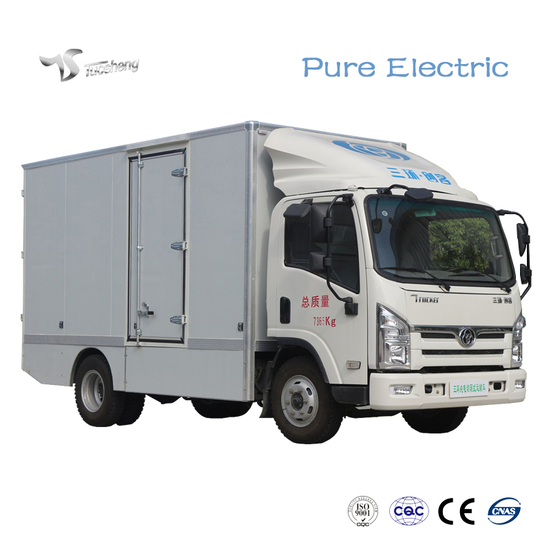 Electric flatbed truck transportation vehicle