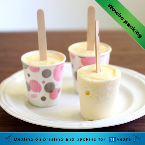 single wall paper ice cream cup with spoon