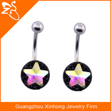 316L surgical Stainless steel Unique Design Popular Star Crystal Shaped Belly Button Ring