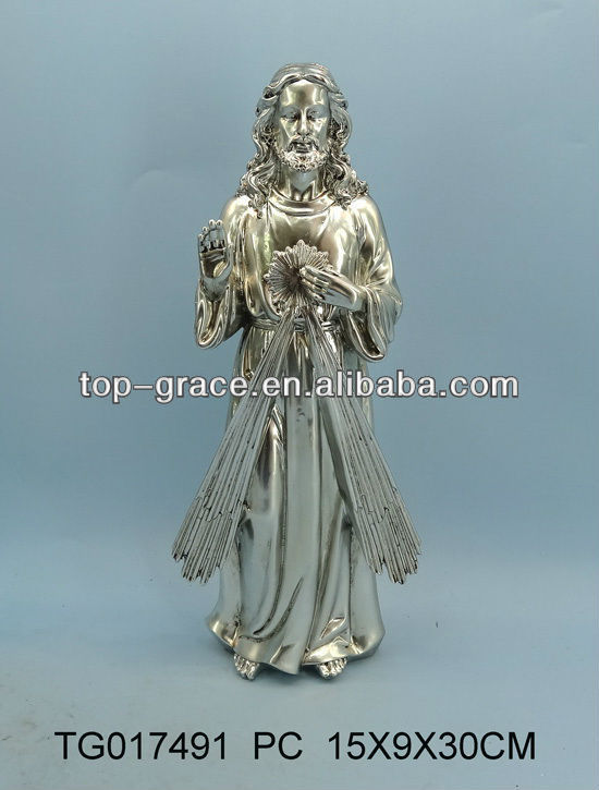 large resin religious saints jesus statue silver plated