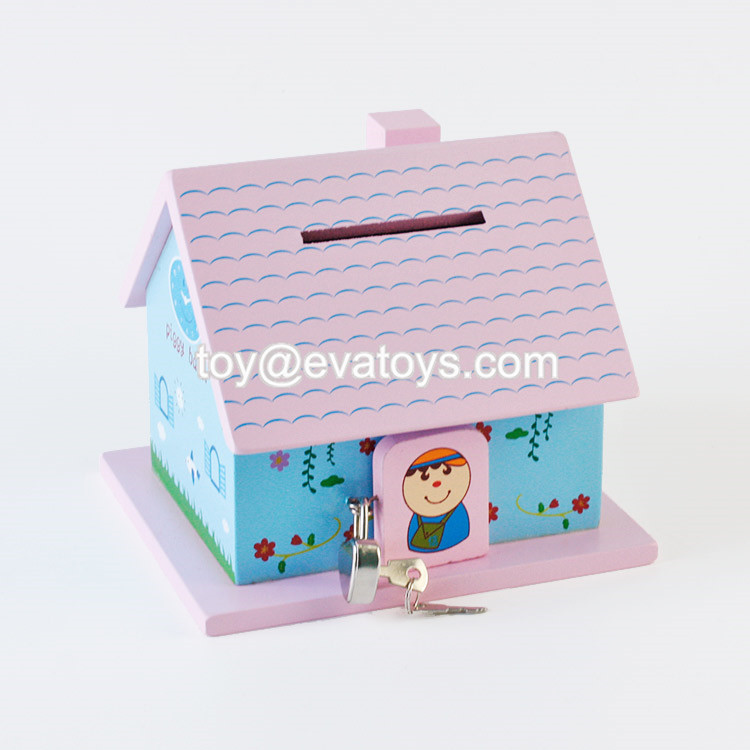 Wooden house toy money saving box,Cute wooden money saving bank,High quality piggy bank money boxes W02A256