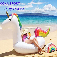 Promotion inflatable unicorn raft horse pool toy 75 Inch Giant unicorn swimming float/colorful water bed Summer beach pool Party