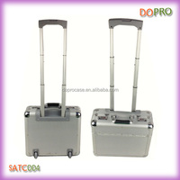 Silver ABS surface combination lock aluminium trolley pilot case