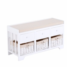 Morden Classic Wooden Long White 3-Drawer 3-Basket Padded Shoe Storage Bench