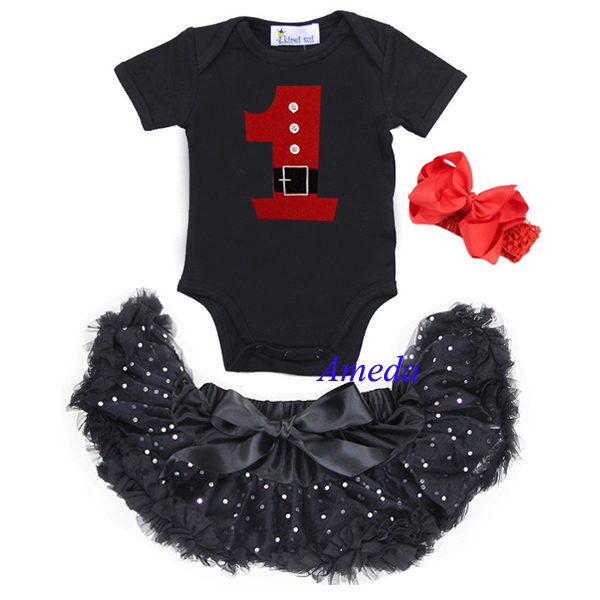 Baby Bling Black Tutu Pettiskirt 1st Santa Birthday Dress Bodysuit Romper Bow 3pcs NB-6M