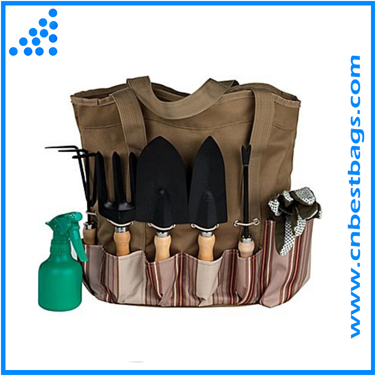 Double-handle Outdoor Gardening Tool Tote Holder Oxford Bag Organizer Storage Carrier with Deep Pockets