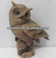 Imitation wood resin owl statues vivid animal ornament for sale
