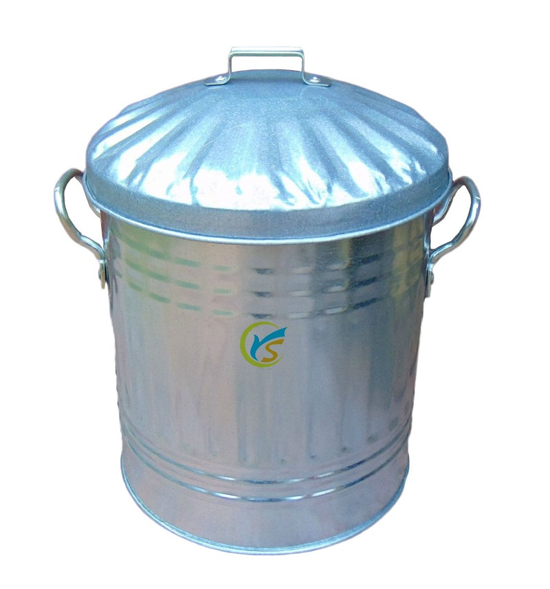10 Gallon Light Galvanized Steel Garbage Containers With ...