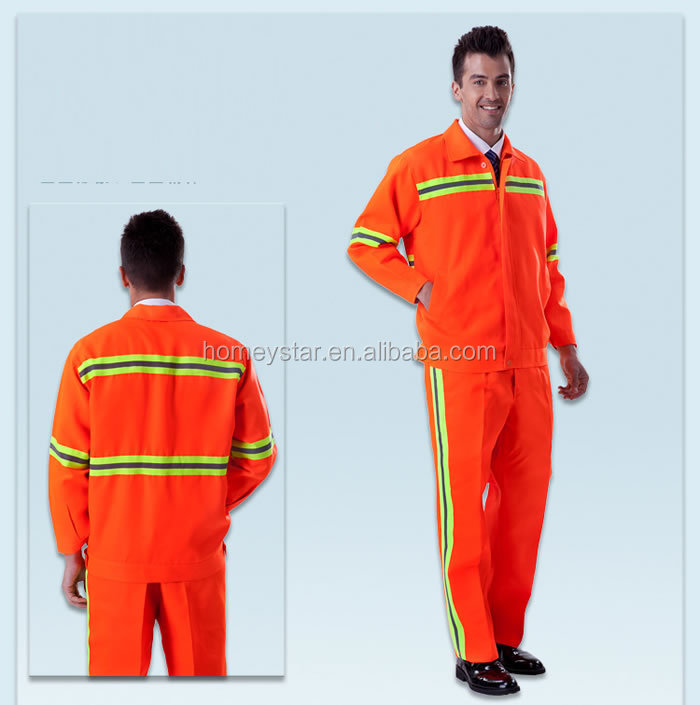 HI VIS reflective safety overall workwear with 3M reflective tape