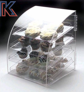 Clear curved 3 layers acrylic perspex food cake and bread display cabinet