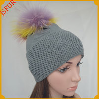 Jsfur Wholesale 100% Cotton Winter Knitted Big Pompom Hats