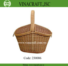 Hot sale honey Bamboo Picnic Baskets with handle