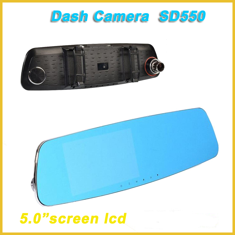 "dvr car have WDR,hd dash cam with 5.0""screen lcd, dual camera rearview mirror car dvr SD550 novatek 96655"