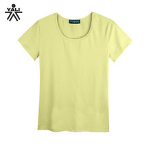 Hot sale cheap solid color short sleeve cotton casual blank t-shirt plus size women 0.50 t-shirts
