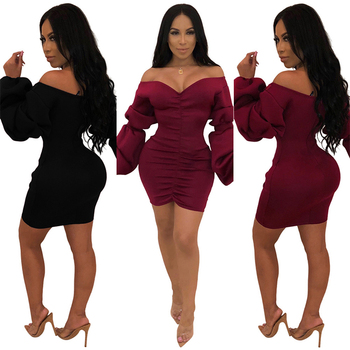 Womens Clothing Latest Design 2019 Fashion Ladies Strapless V Neck Solid Puff Sleeve Pleated Bodycon Mini Dress