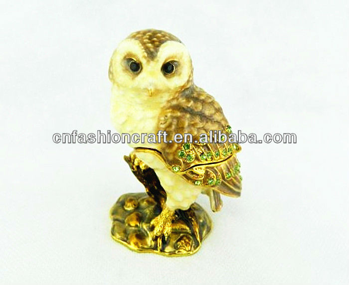 Fashion Pewter Alloy Rhinestone Hand painted Bejeweled Owl jewelry box