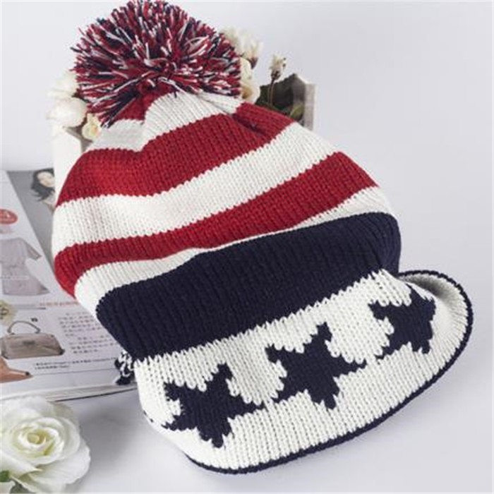 Girls and Boys School Style Stars and Stripes Acrylic Beanie Hat with Pom Pom