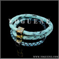 fashion blue leather hottest stainless steel fashion bracelet
