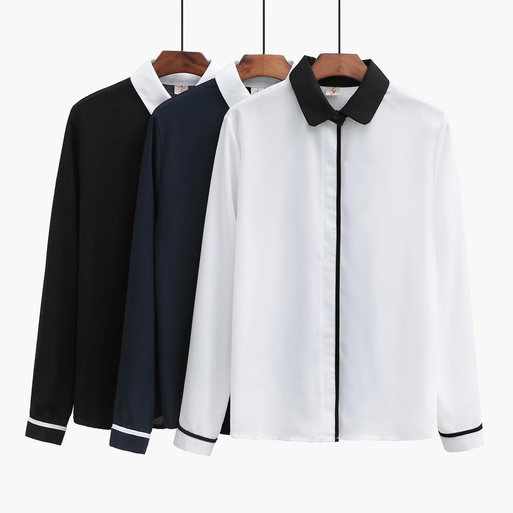Shirt design 2017 - 2017 Fashion Long Sleeves Constracsting Color Collar Solid Chiffon Latest Fashion Strong Shirt