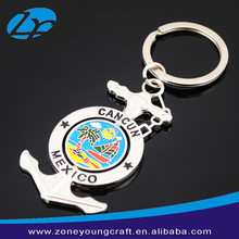 Metal souvenir anchor rotating keychains