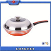 20-34cm cast iron wok with air vent on stainless steel lid pressed aluminum professional wok