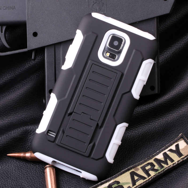 IN STOCK CELL PHONE CASE For Samsung Galaxy S5 I9600 Combo Armor Hybrid Kickstand Holster case cover Rugged