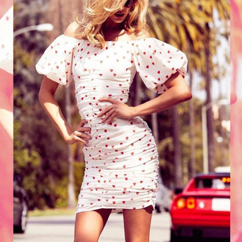 New Style Dot Fitted Women Short Sleeve Off Shoulder Dress Suit Women