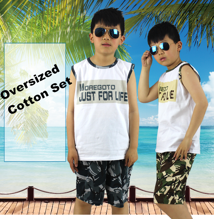 Good Quolity Cotton Oversized Camouflage Boys Teenage Clothing Set