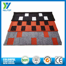 Mix color stone chip coated steel villa roof tile