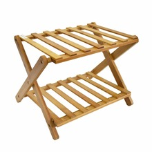 bamboo Folding Rack for plant Bamboo luggage Rack 2layers Storage Shelf