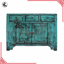 bedroom antique wood cabinet in blue high glossy finish