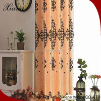 Polyester faux silk flocked windows curtains