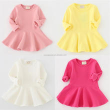 NZ65 2016 girls' dress lotus leaf cotton long sleeved mai dress for kids wholesale