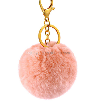 Good quality hairy fur poms rex rabbit fur ball keychain