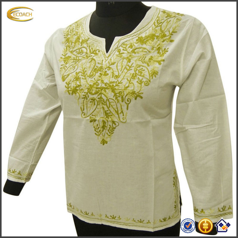 OEM Wholesale Kaftans White Kurti Embroidered Long Sleeves Tuni vietnam carabic women clothing