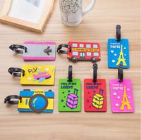 New Fashion Pvc Travel Luggage Tag Cartoon Custom Silicone Luggage Tag Name Tag Boarding Cards For Bag