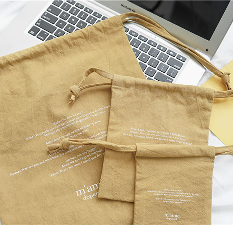 Wholesale Soft Washed Cotton Drawstring  Package Bag with Custom Logo 16*20cm