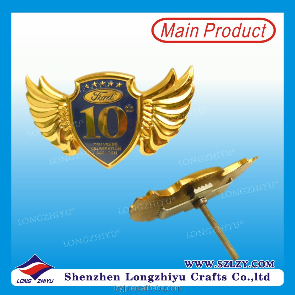 10th Celebration Car Logo Custom Car Emblem With Your Own Brand Name